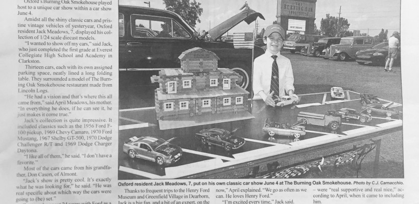 Classic Car Models from EA First Grader Jack Meadows in Local Show
