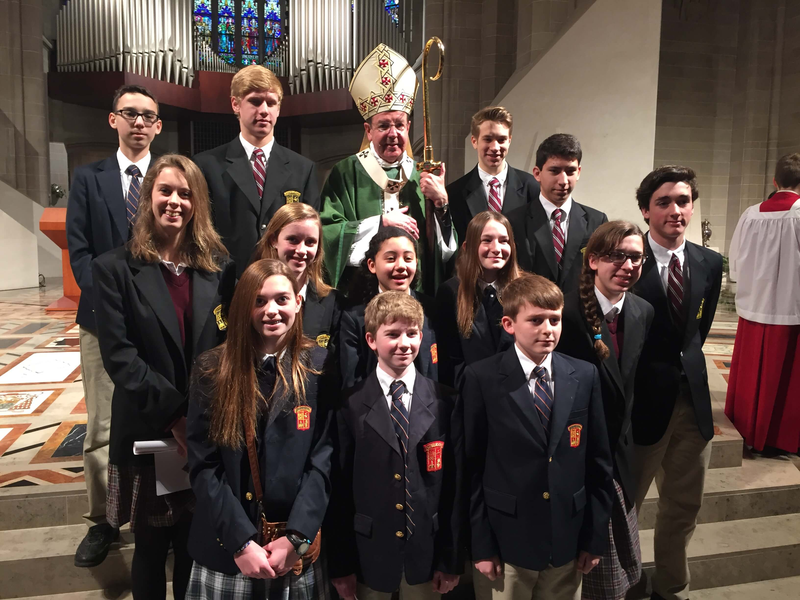 These students represented Everest Collegiate High School and Everest Academy at the Catholic Schools week mass celebrated by Archbishop Vigneron.