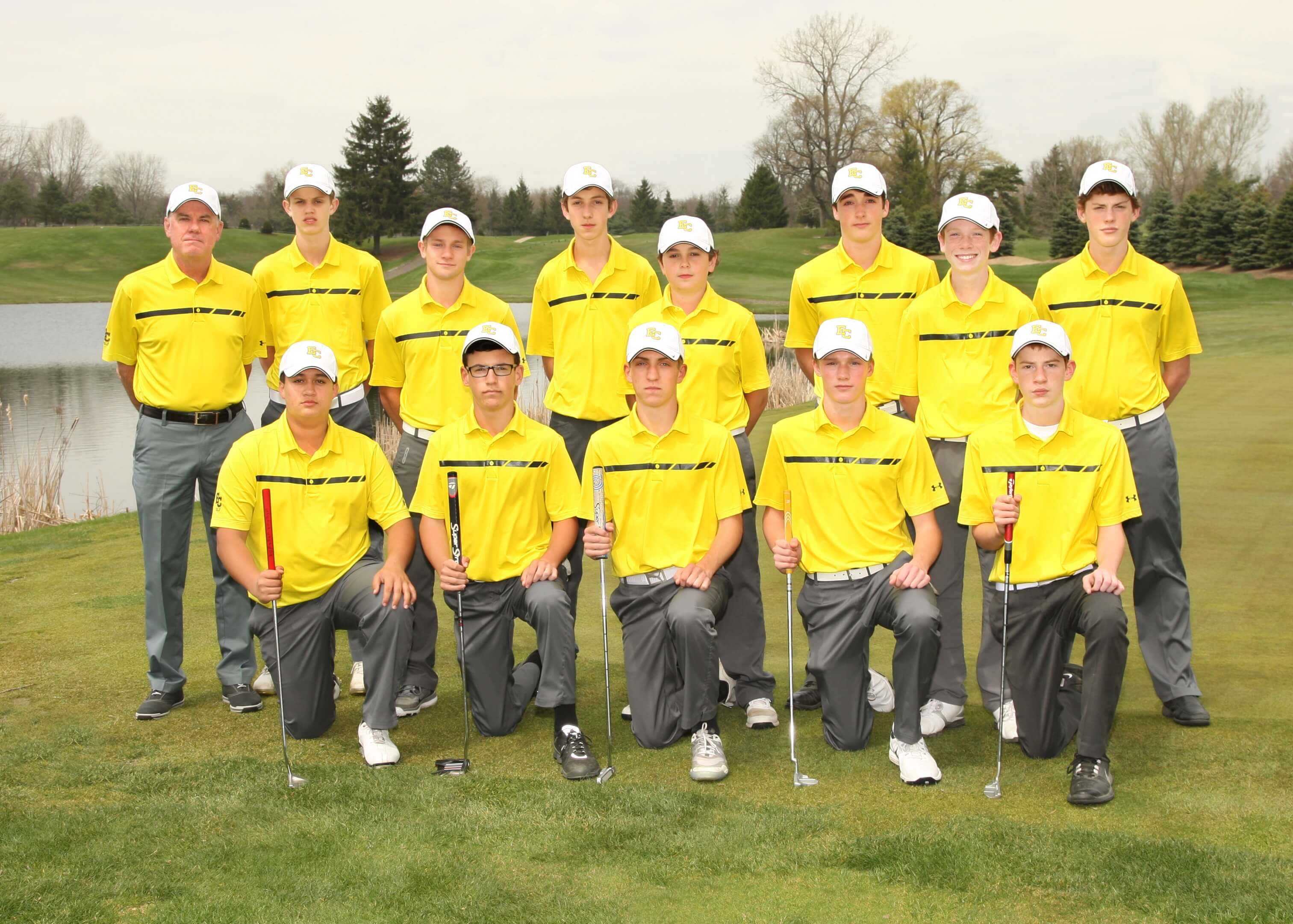 Golf Team Members: (back row, left to right) Coach Dave Smith, Jack McGrath, Tyler Rozwadowski, Rodrigo DeNigris, Antonio Navarro, Andrew Stafford, Kevin Meehan and Max Engle. (Front row, kneeling from left to right) Nick Korns, Mitch Lowney, Joey McMahon, JC James and Andrew Ross.