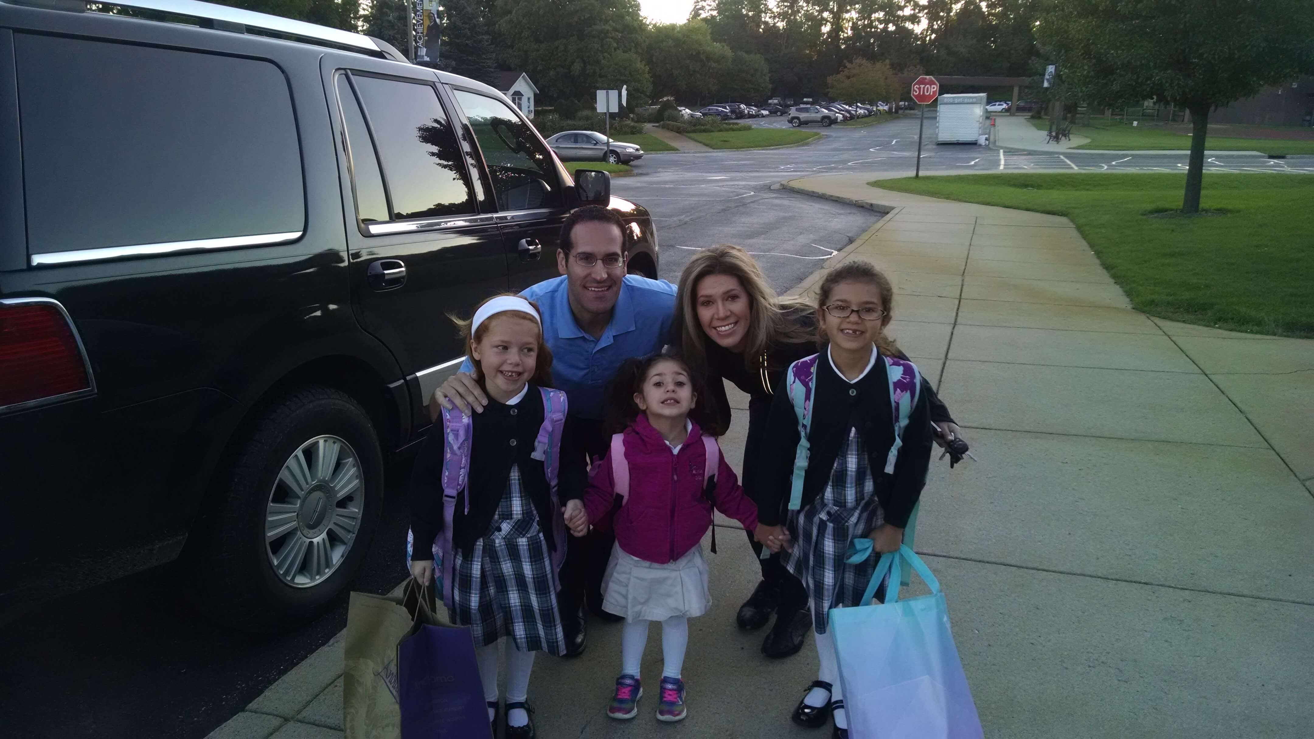 First day of preschool for little Giada Tocco. She is with her sisters, Lillian and Nina, and her parents.