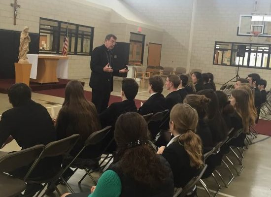 Archbishop Allen Vigneron spends a day with EC students and faculty