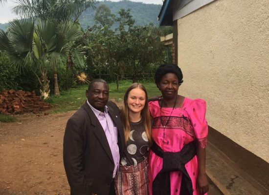 Becca Luttinen with her African hosts, the Zaales.