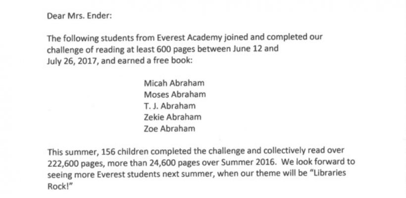 Students Accept Summer Reading Challenge