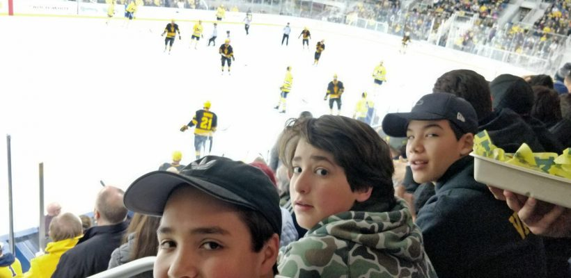 Go Blue! Boys See Michigan Hockey Game
